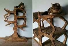 0aff0add7e4f This handmade cat tree takes functional art to a new level! Designed to look  like a real tree, it hits the ideal balance between rustic and modern.
