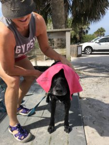 Chilly getting dried off after his beach day