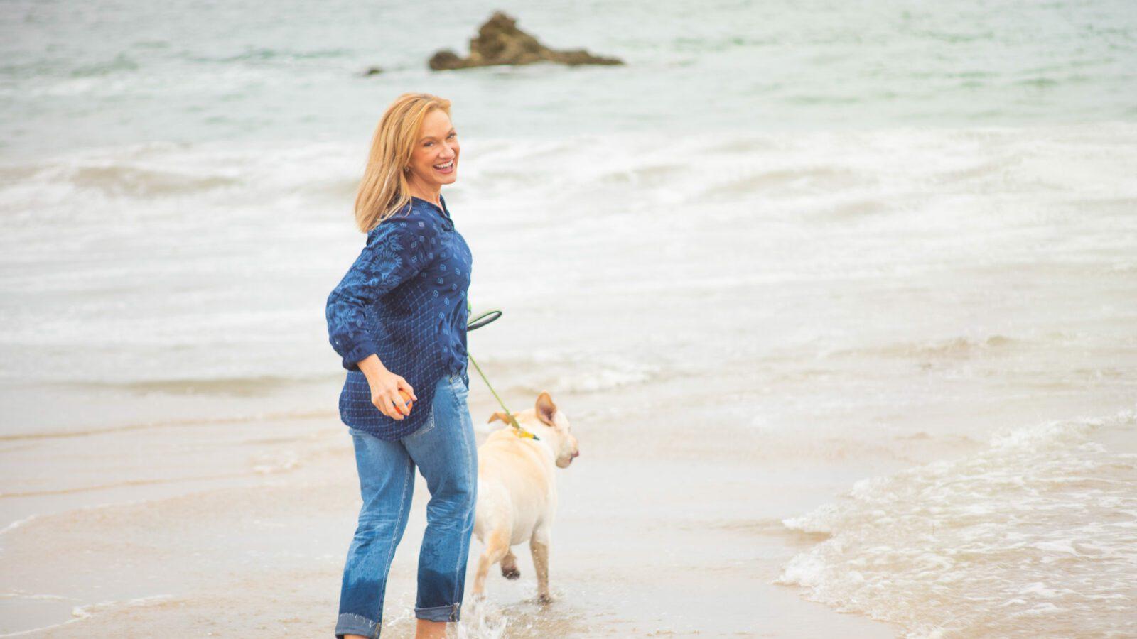dog care walk on beach