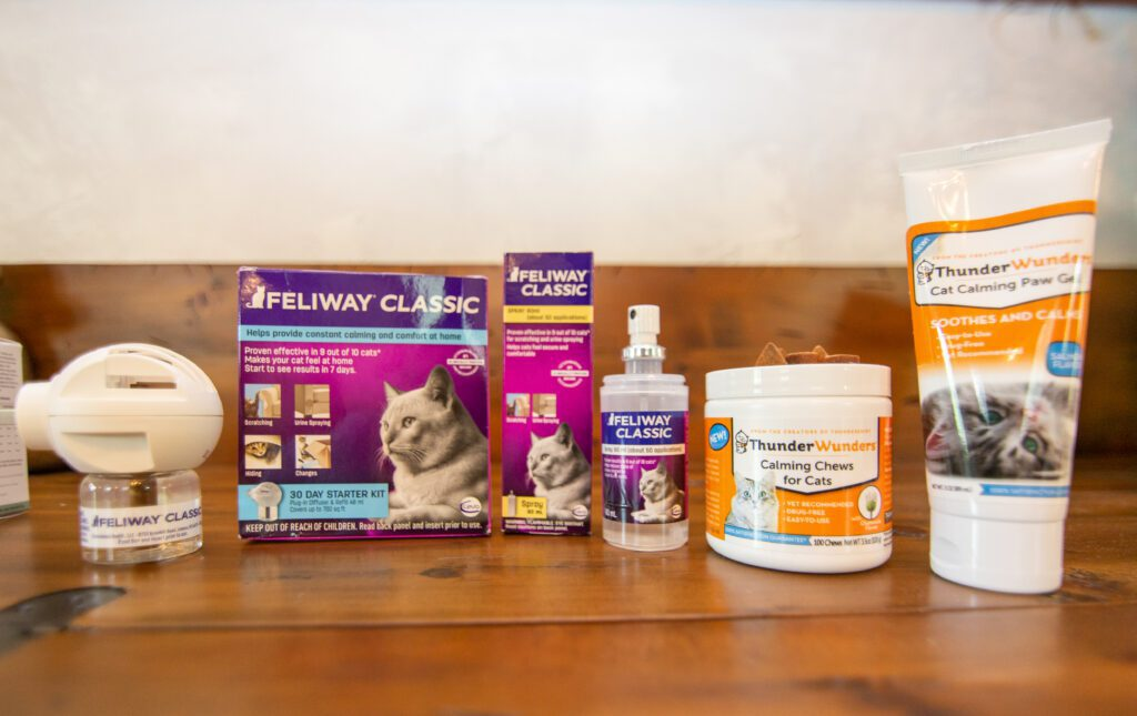 ThunderWorks and Feliway are complementary and effective anti-anxiety treatments for your cat or dog.